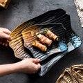 Retro Japanischen Stil Unregelmäßigen Keramik Platte Kreative Westlichen Steak Salat Dessert Kuchen Sushi Küche Sashimi Obst Lagerung Tablett-in Geschirr & Platten aus Heim und Garten bei