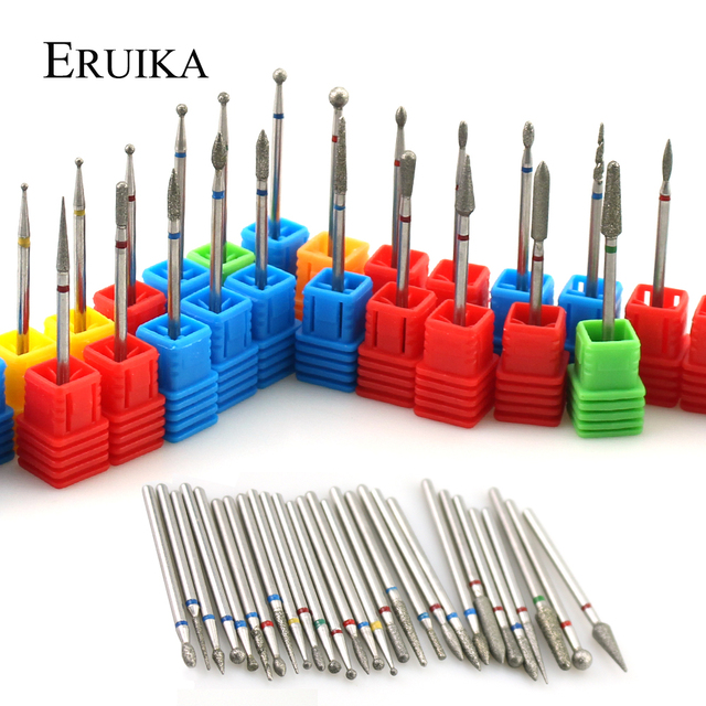 ERUIKA 28 Types Diamond Rotary Nail Drill Electric Milling Cutter Bits Cuticle Clean Burr for Manicure Machine Tools Nail Files