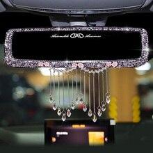 Criativo strass borlas interior do carro espelho retrovisor decoração charme flor cristal espelho traseiro ornamentos acessórios do carro