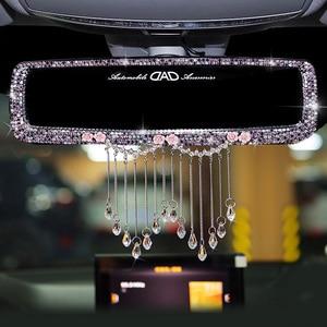 Image 1 - Criativo strass borlas interior do carro espelho retrovisor decoração charme flor cristal espelho traseiro ornamentos acessórios do carro