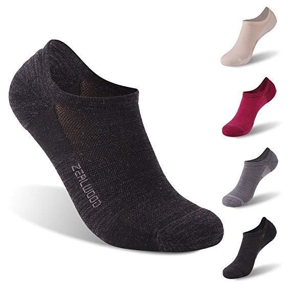Athletic Socks, ZEALWOOD Unisex Merino Wool Moisture Wicking Ultra-Light Running Socks 1/3 Pairs