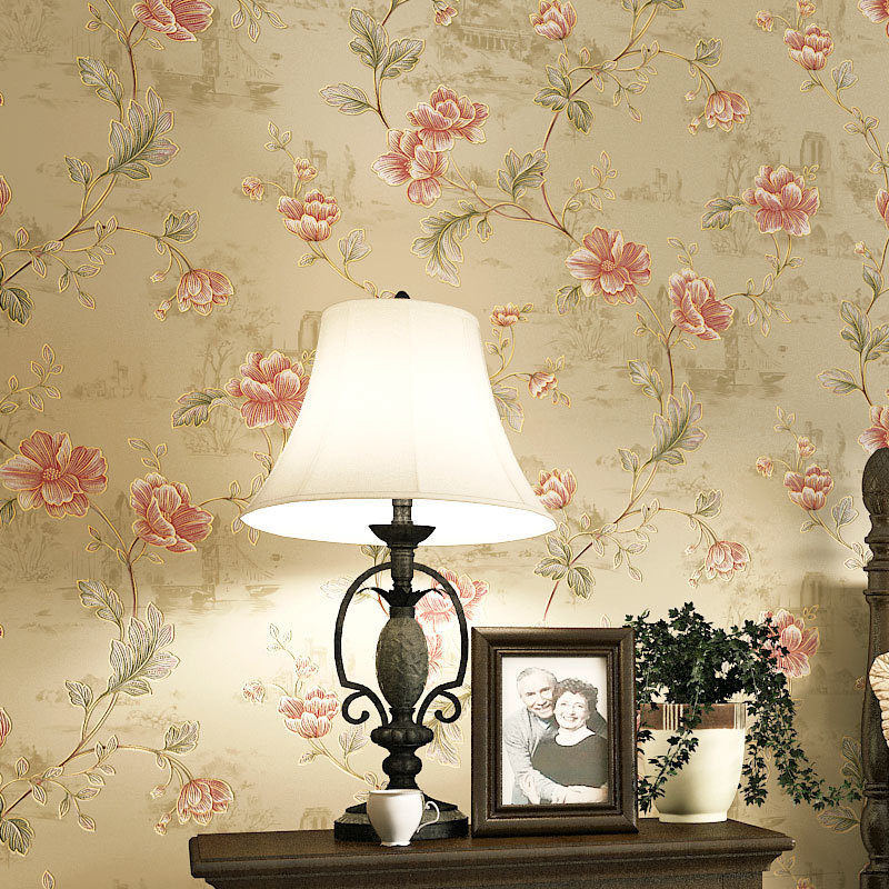 American-Style Village Pastoral Style Non-woven Wallpaper Small Floral Bedroom Hotel Engineering Special Offer Closeout Processi