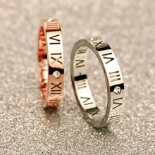 Luxury Brand Fashion Titanium Steel Jewelry Roman Numerals Rings For Women CZ Crystals Trendy Party Love Ring Couple KA29