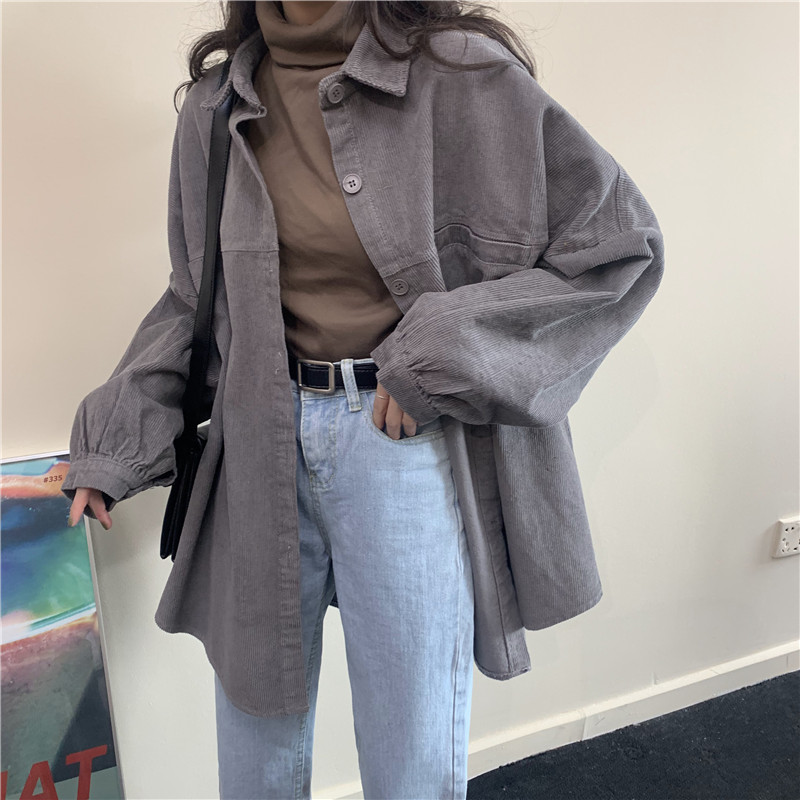 Alien Kitty Outwear Oversized Corduroy Shirt Coat Women Tops Blouses Loose Casual Blusas Jackets Korean Elegant Camisas Mujer