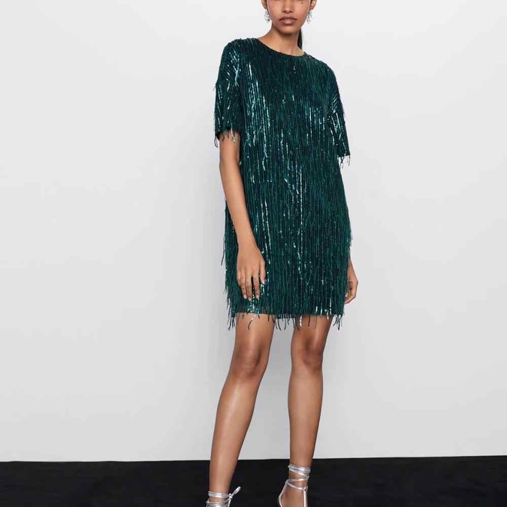 ZA women dress 2019 shiny fringed bright Chic lady green black streetwear sexy mini club party dress