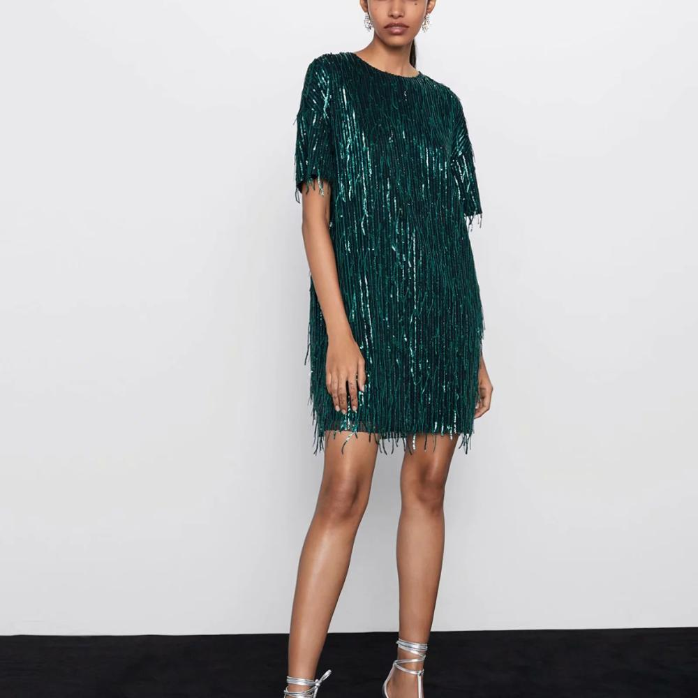 ZA women dress 2019 shiny fringed bright Chic lady green black streetwear sexy mini club party dress