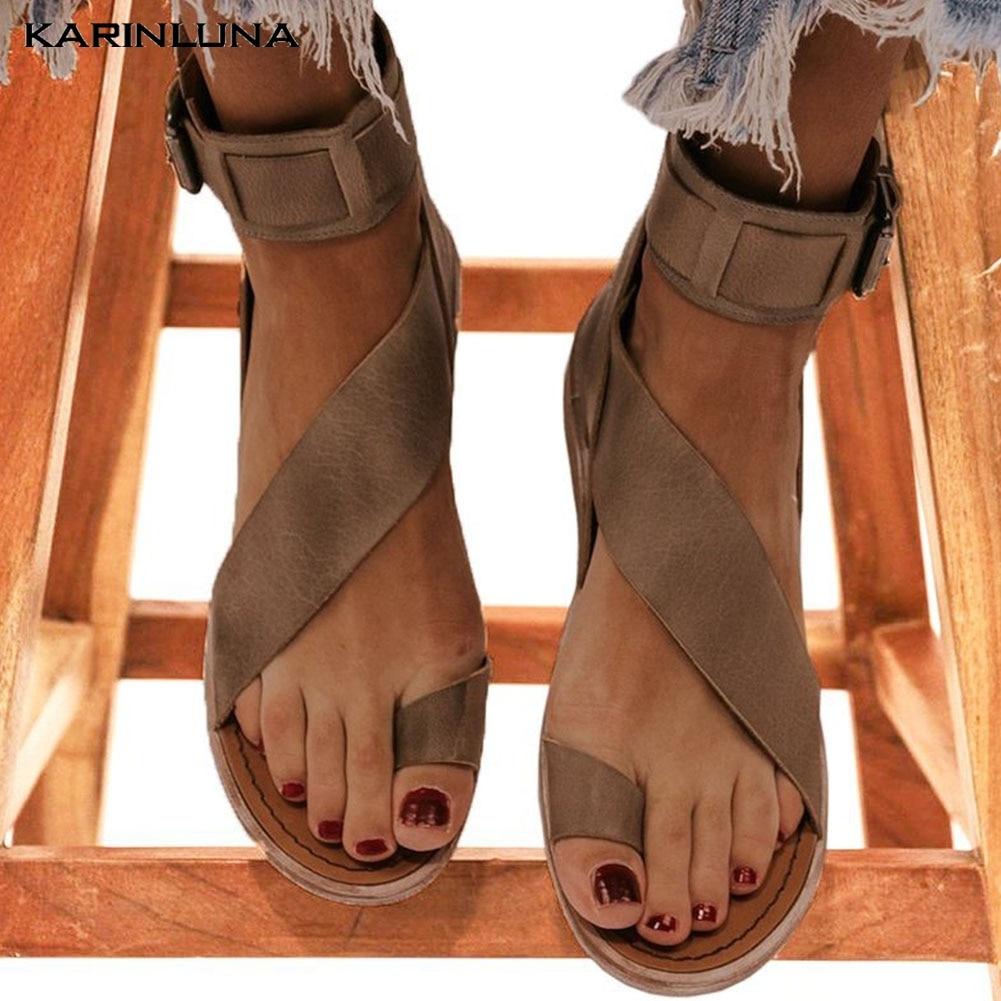 Karinluna 2020 New Arrivals Large Size 43 Dropship Gladiator Shoes Woman Sandals Female Buckle Strap Casual Summer Sandals Women