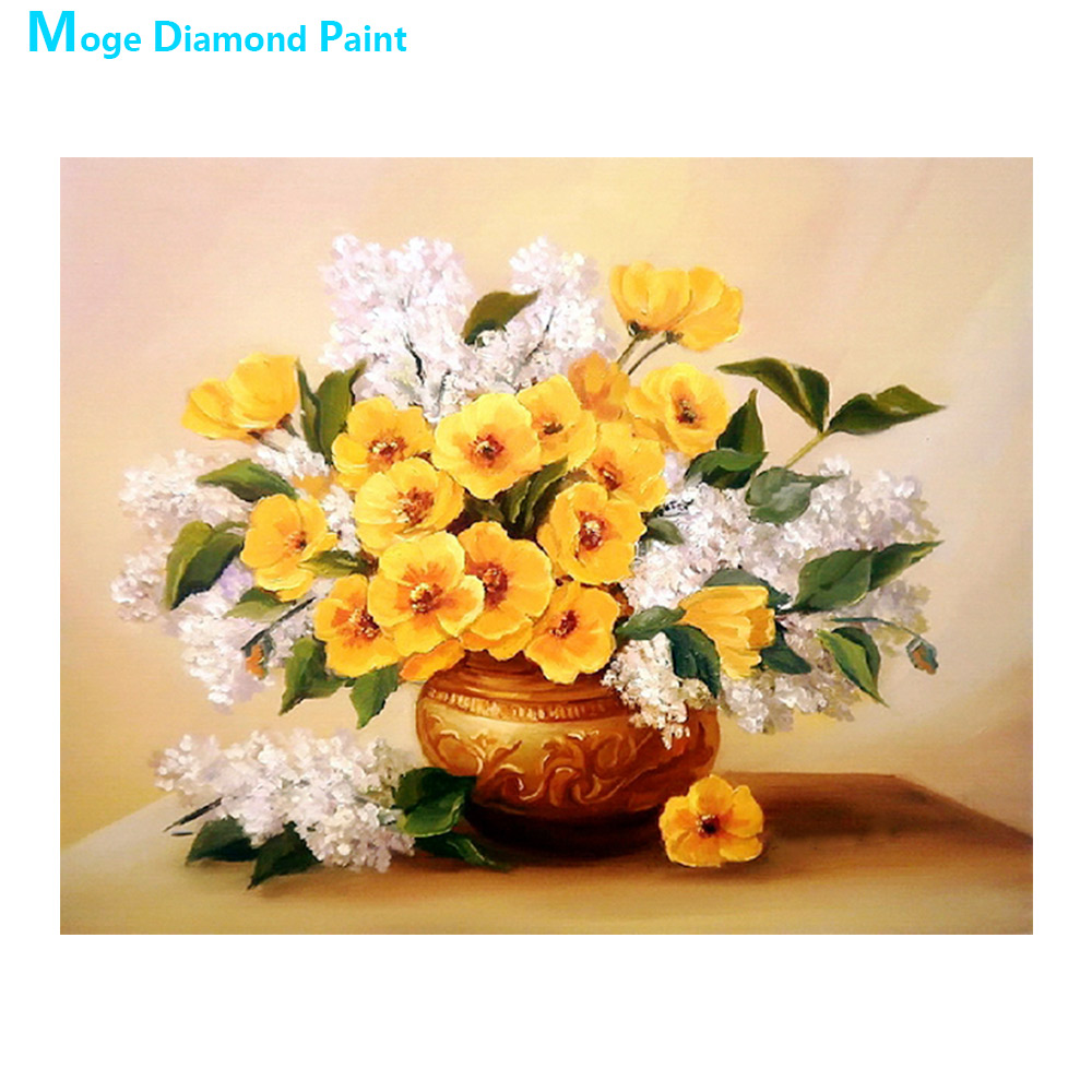 desktop vase Moge Diamond Painting Full Round yellow floral New DIY sticking drill cross embroidery 5D simple home decorative