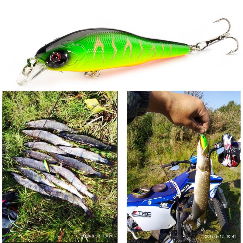 SEALURER Minnow 1pcs 9cm 9.5g Jerkbait Wobblers Fishing Tackle 3D Eyes Fishing Lures Crankbait 6# Hook Fly Fishing