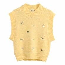 2020 kobiety moda okrągły kołnierz haft w kwiaty żółty sweter z dzianiny kobiet swetry na co dzień chic rozrywka bluzy topy S251