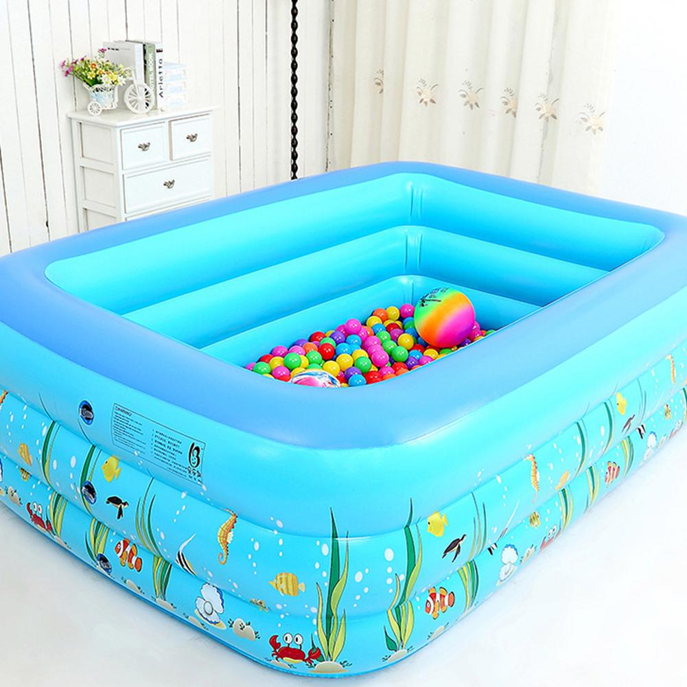 1.3M Three-ring Baby Inflatable Printing Swimming Pool PVC Playing Bathing Pool For Family Children