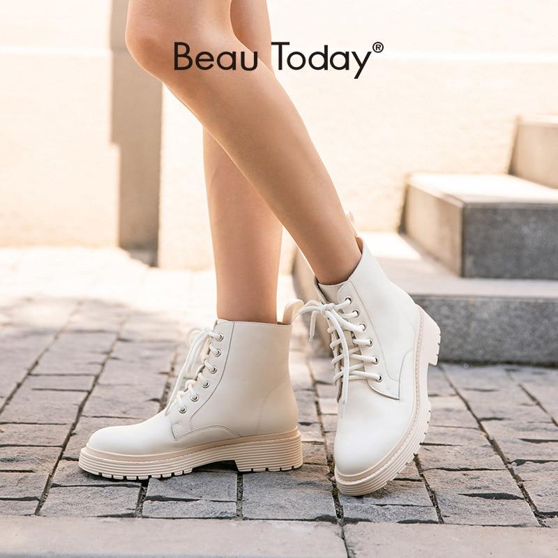 BeauToday/ботильоны; Женские модные ботинки из натуральной коровьей кожи с перекрестной шнуровкой и круглым носком; Зимняя обувь на платформе; 03429 ручной работы|Полусапожки|   | АлиЭкспресс