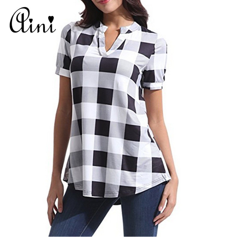 Plus Size 5XL Women Tops And Blouse 2019 Summer Top Casual Short Sleeve V-neck Plaid Blouses Female Loose Shirts Blouse Tops
