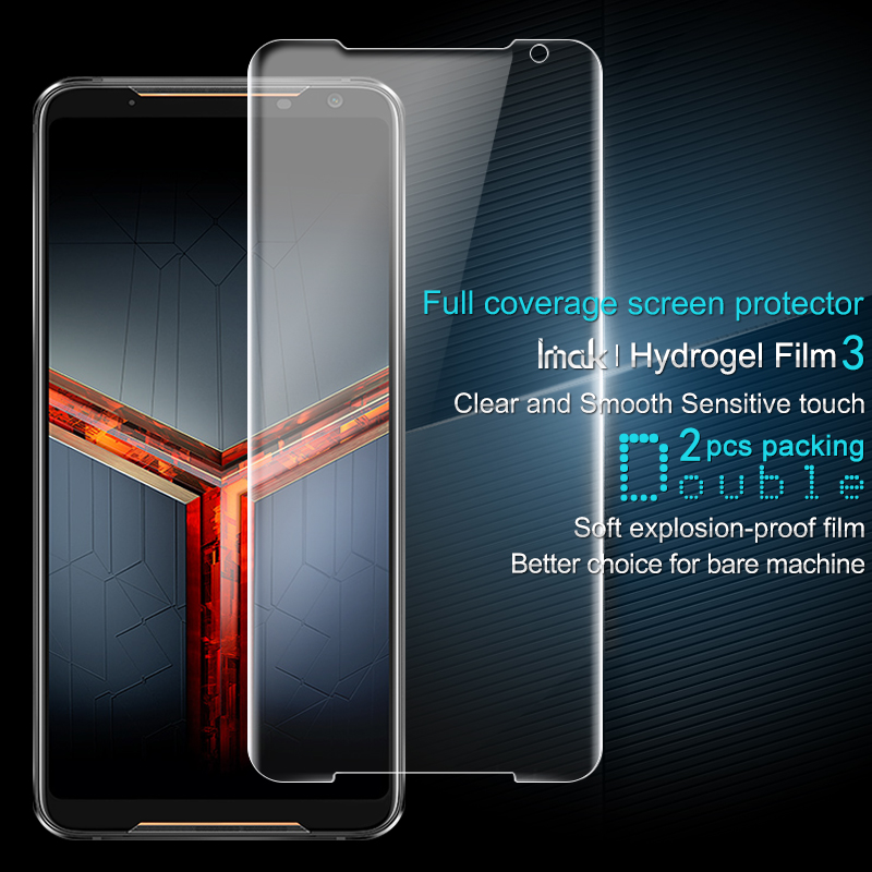 2PCS Full coverage for Asus ROG Phone II ZS660KL Rog Phone 2 Screen protector Imak All Standing Hydrogel Film Transparent Clear|Phone Screen Protectors| |  - title=