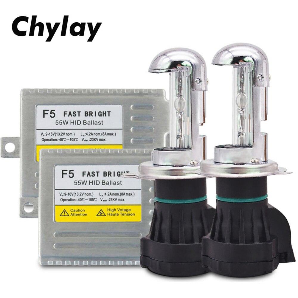 Bi xenon H4 haute basse hid kit haute qualité rapide lumineux F5 Ballast voiture xénon kit 55W HID ampoule 4300K 5000K 6000K 8000K AC 12V lampe