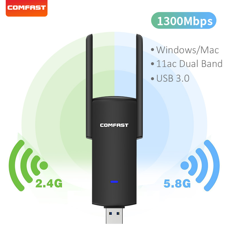 USB-адаптер Wi-Fi RTL8812BU, 1300 Мбит/с, два диапазона