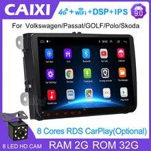 CAIXI Android 9.0 RAM 2GB 2 Din Xe Ô Tô Đài Phát Thanh Đa Phương Tiện Xe Volkswagen Skoda Ghế Octavia Golf 5 6 touran Passat B6 Polo