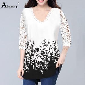 Plus Size 4xl 5XL Tops V-neck Half Sleeve Lace Splice European and American Female 2020 Spring New Print Boho Women T-shirt(China)