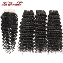 Ali Annabelle Deep Wave Bundles With Closure Human Hair Bundles With Closure Brazilian Hair Weave Bundles With HD Lace Closure