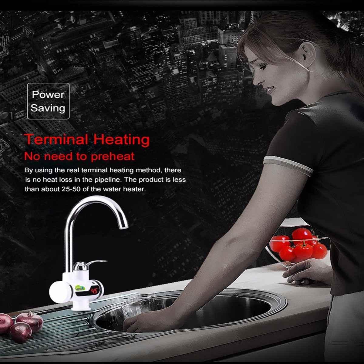 חשמלי מיידי חימום מטבח אמבטיה ברז דוד ברז חשמלי דוד מים חמים ברז טמפרטורת LED תצוגה דיגיטלית