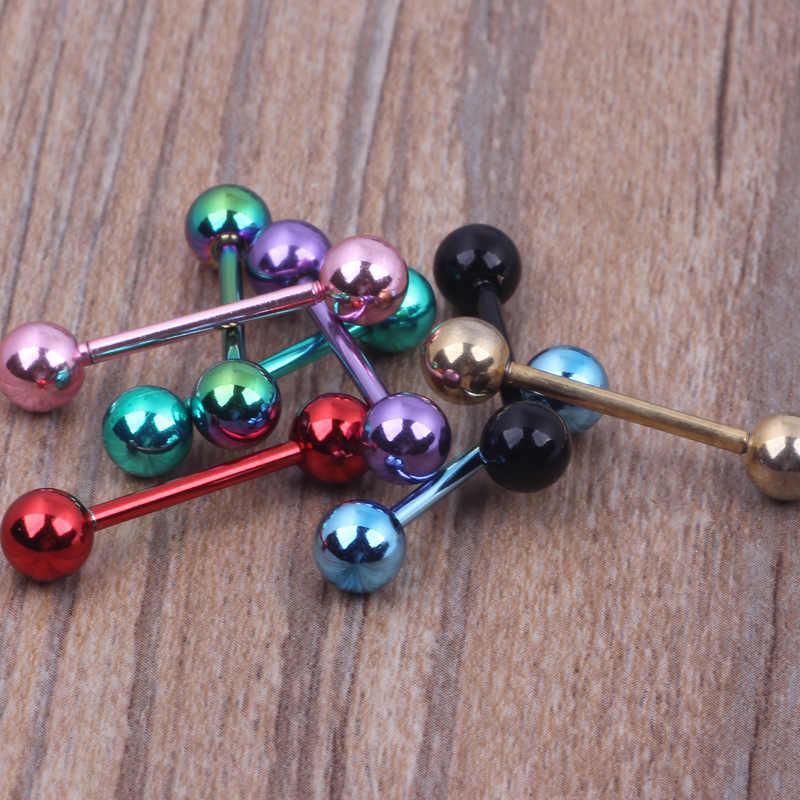1PCs נירוסטה לשון פירסינג מחץ תעשייתי ברבל עגילי כדור לשון טבעות פירסינג תכשיטים 4 צבעים