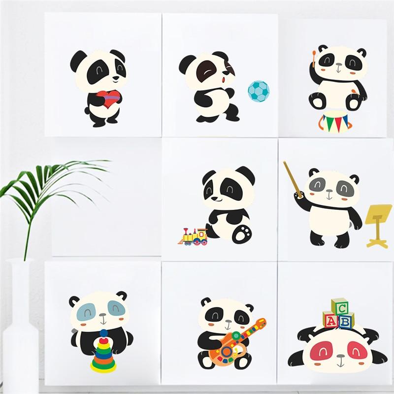 Милые панды бамбуковые гитарные настенные Стикеры с измерением высоты для детских комнат, животные, диаграмма роста, настенные наклейки, пе...