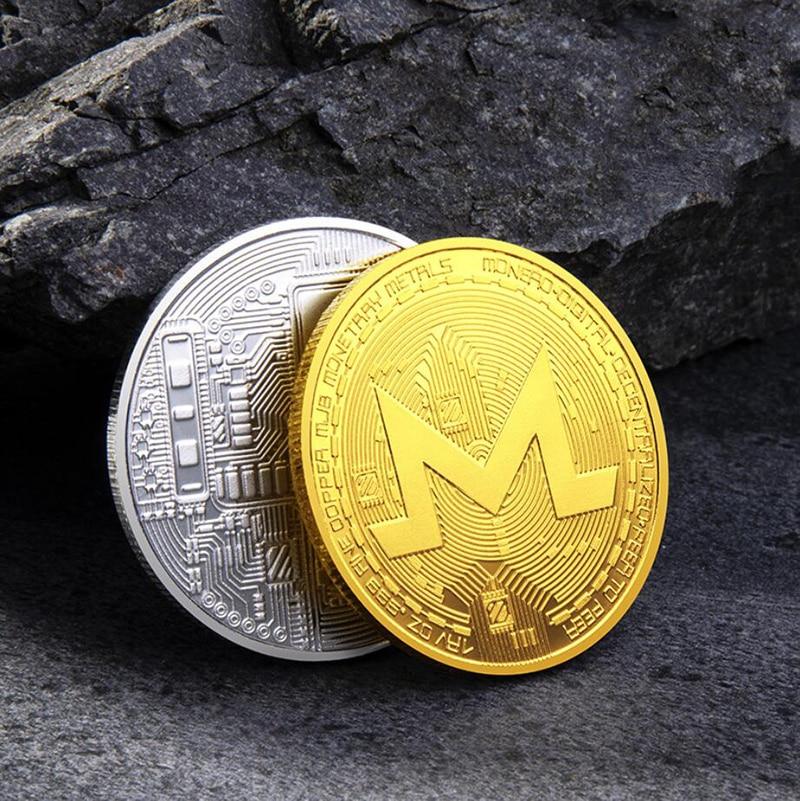 Монеро монета набор памятных монет виртуальной Bitcoin искусства цвета: золотистый, серебристый Сувениры дома Украшения настольные украшения