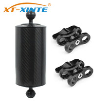 XT XINTE פחמן סיבי כפולה כדור ציפה Aquatic Float זרוע D80mm 5/8/10 אינץ צלילה SLR מצלמה אור מגש 1 אינץ Batterfly קליפ