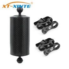 XT XINTE из углеродного волокна с двумя шариками плавучести водный Поплавковый рычаг d80мм 5/8/10 дюймов для дайвинга SLR светильник для камеры поднос 1 дюйм зажим для батареи