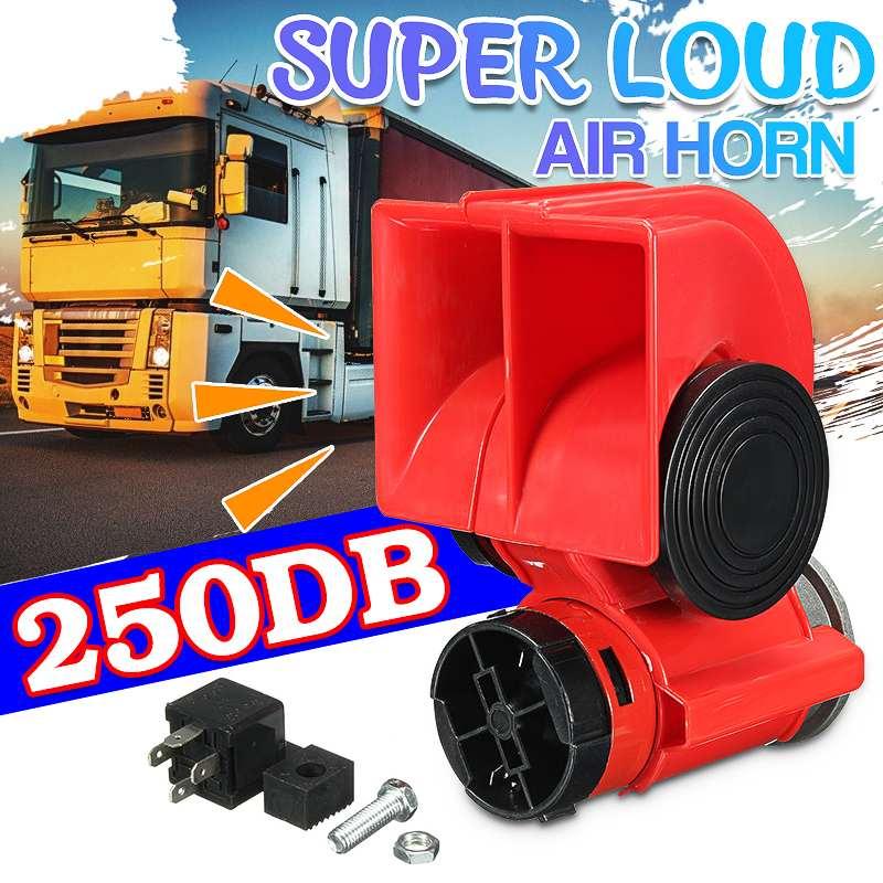 12V 250DB 자동 트윈 듀얼 톤 컴팩트 에어 뿔 키트 자동차 트럭 트럭 SUV RV 기차 캐러밴 보트 트윈 톤 슈퍼 시끄러운
