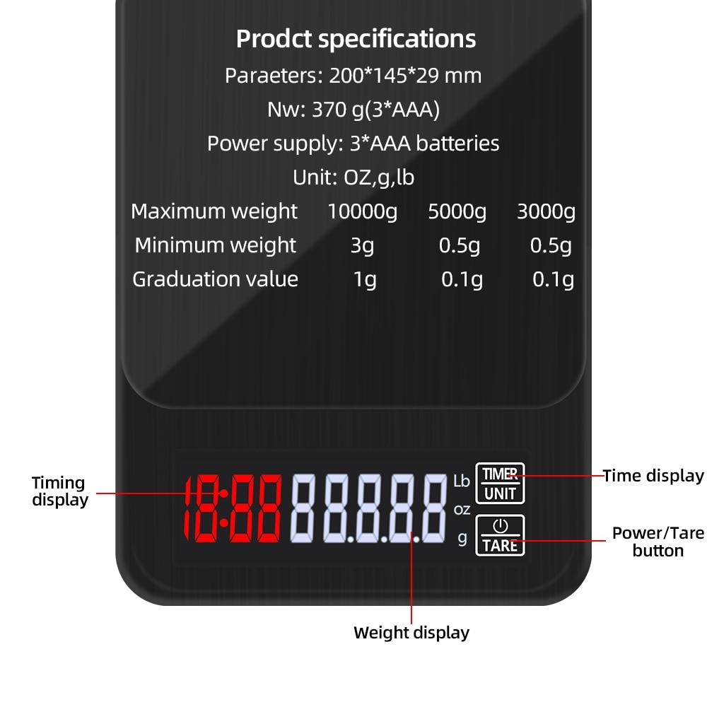 Цифровые Мини-весы 10 кг/0,1 г 5 кг/0,1 г 3 кг/0,1 г с таймером, высокоточные электронные ЖК-весы для ювелирных изделий, Скидка 40%-2