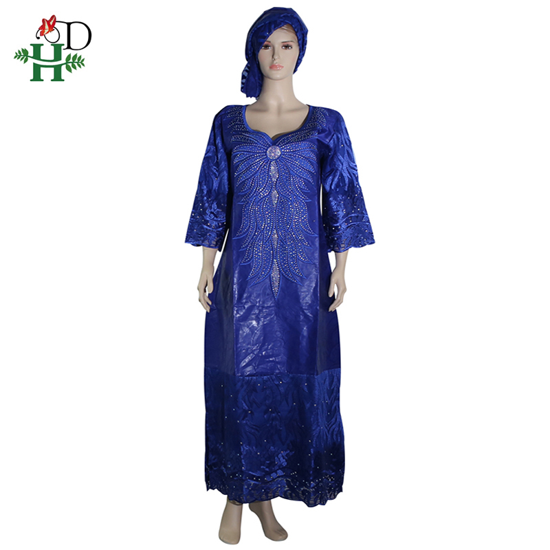 H&D African Women's Dress 2019 Plus Size Dashiki Dresses Royal Blue Long Dress South Africa Lady Clothes Evening Party Wears