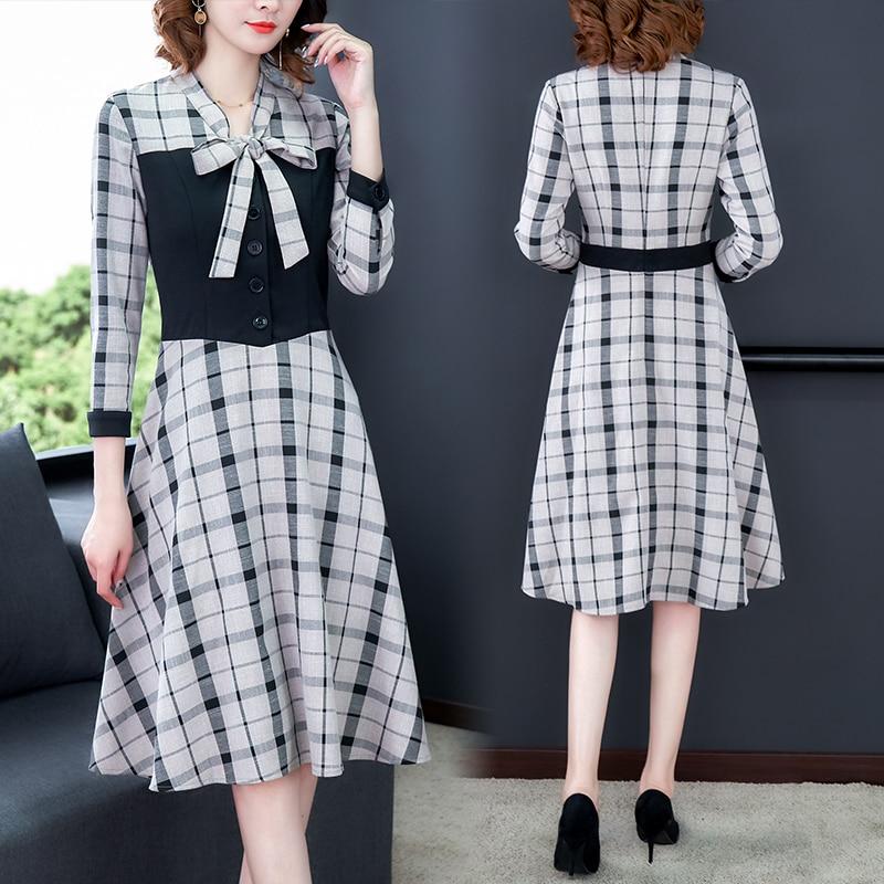 Fashion Autumn Dresses 2019 New Arrive Women Plaid Dress Casual Knee-Length Empire Bow Party Dress Vestidos Office Lady Clothing 31