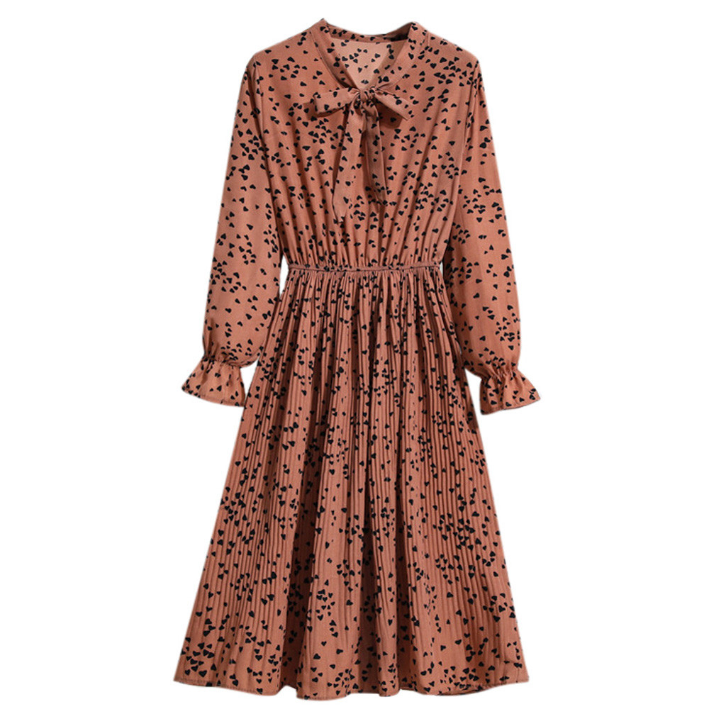 Dress For Women Lady's Casual Elegant Bow Tie Flower Printed Long Sleeve Elastic Waist Bandage Evening Party Dresses Vestido