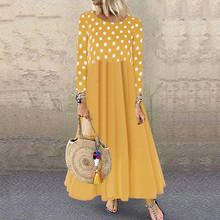 Winter Women Dress 2019 Vintage Bohe  Print Long Sleeves O-Neck Maxi 8.14