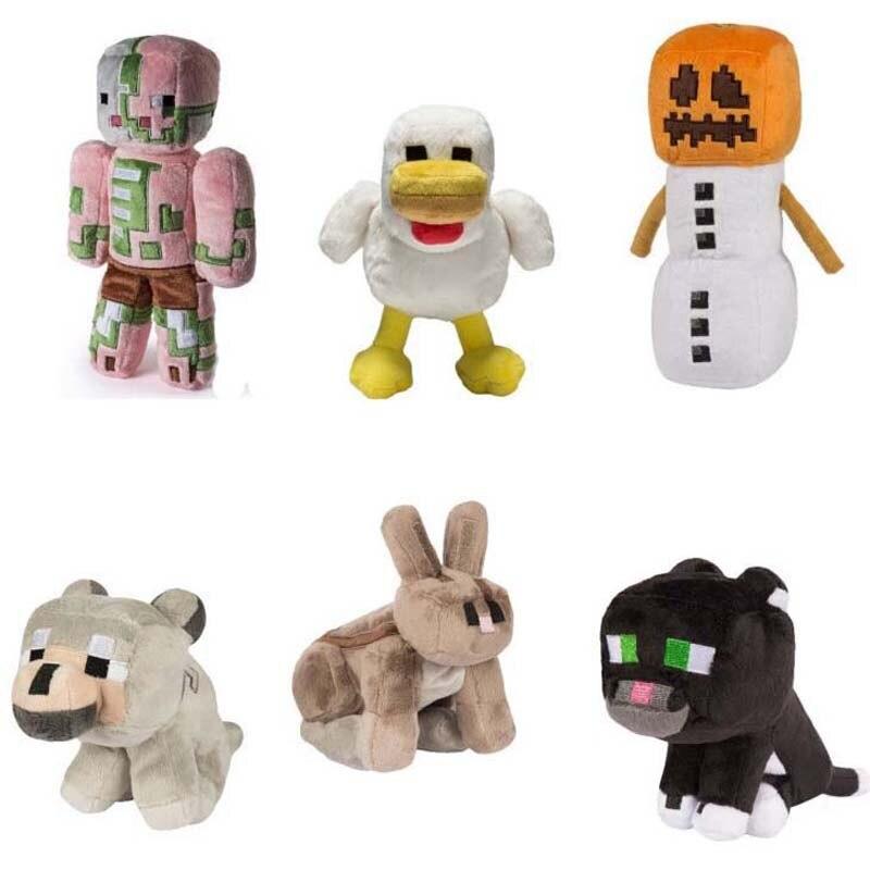 18-23cm Game MC Snow Golem Steve Zombie Wolf Ocelot Rabbit Chicken Plush Toys Doll Soft Stuffed Toys Gifts For Children Kids