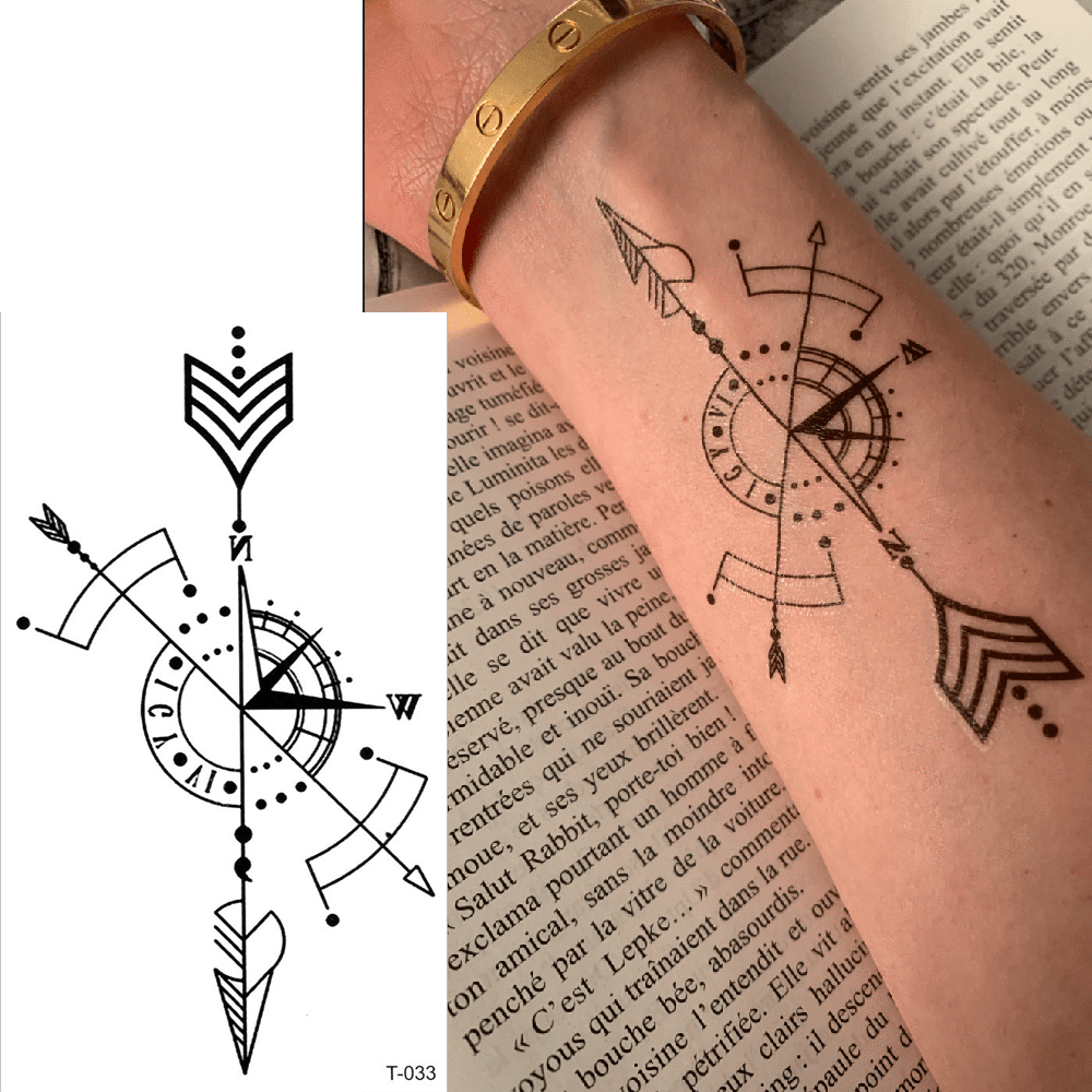 Waterproof Tattoo Minimalistic Geometric Compass Temporary Tattoos Stickers Fake Tatto Women Girl Body Hand Art Flash Tatoo Boy