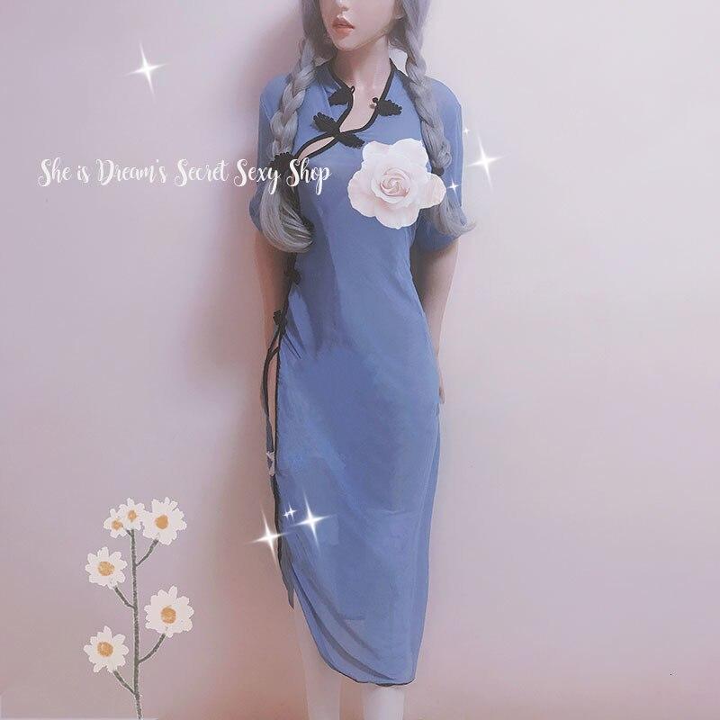 Vietnam Ao Dai Underwear The Republic Of China Students' Uniform Long Cheongsam Gauze High Slit Qipao Transparent Blue Nightgown