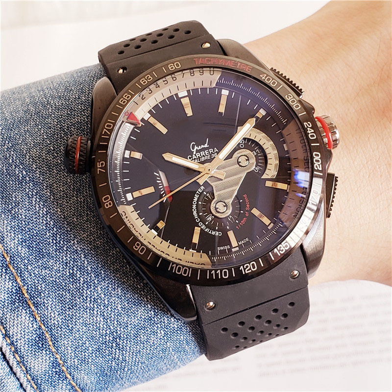 Mens Watches TAG Top Brand Luxury Stainless Steel Case Rolexable Automatic Mechanical Male Clock Silicone Band Heuer Wristwatch