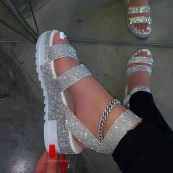 Las mujeres sandalias de verano de 2021 sandalias de diamantes de imitación...