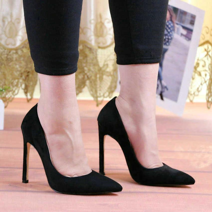 QUTAA 2020 moda ayakkabılar kadın pompaları yüksek topuklu yılan derisi PU akın seksi kadın ayakkabı seksi bayanlar sivri burun Stilettos boyutu 34-43