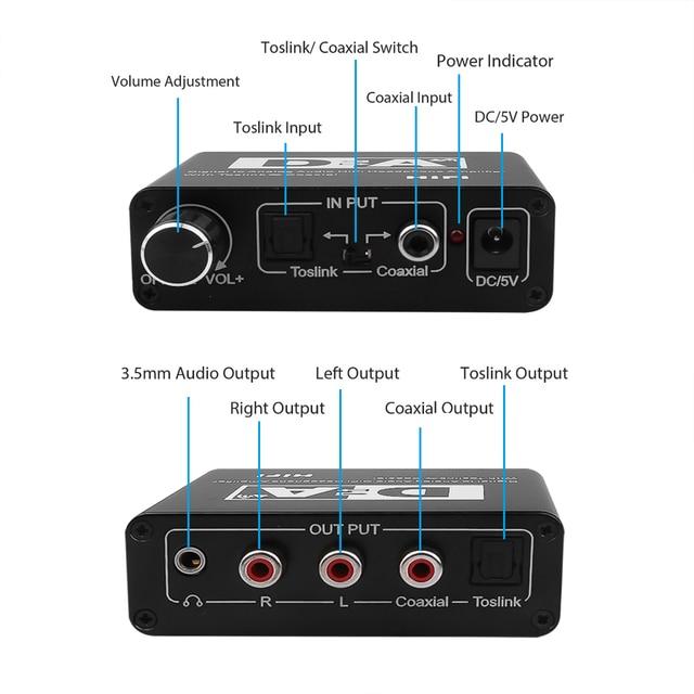 Digital To Analog Audio Converter Adapter Coxial To Optical Toslink And Optical Toslink To Coaxial Bi-directional Switch Black