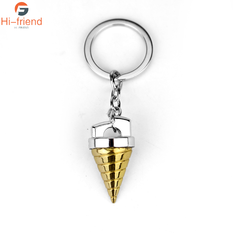 M2 New Arrival Jewelry Gold Gurren Lagann Red Lotus Group Keychains Mech Warrior Conical Shape Alloy Keyrings For Fans