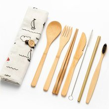 Portable Eco Friendly Cutlery Set Bamboo Knife Fork Spoon Reusable Straws Chopsticks Travel Utensils