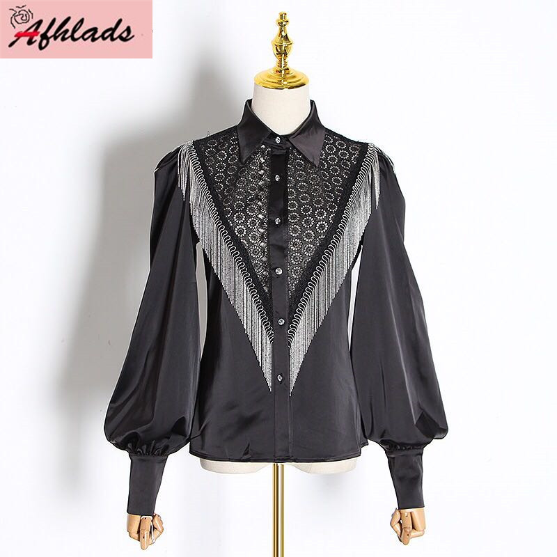 Ladies Fashion Shirt Lace Patchwork Tassel Chain Lantern Sleeve Top Vintage Design Single-Breasted Turn-Down Collar Shirt Women