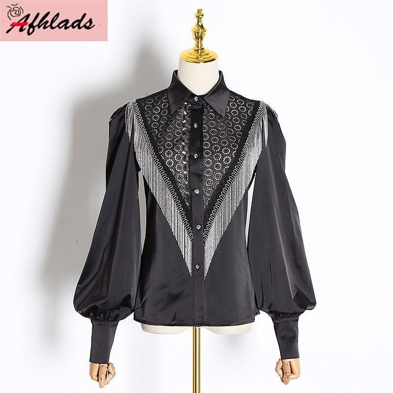 Ladies Fashion Shirt Lace Patchwork Tassel Chain Lantern Sleeve Top Vintage Design Single-Breasted Turn-Down Collar Shirt Women