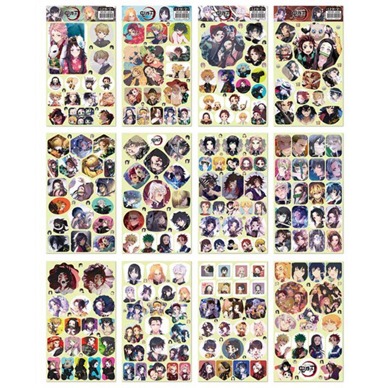 12sheets Demon Slayer Kimetsu No Yaiba Anime Sticker Stickers PVC Graffiti Stickers Suitcase Luggage Guitar For Children Toys