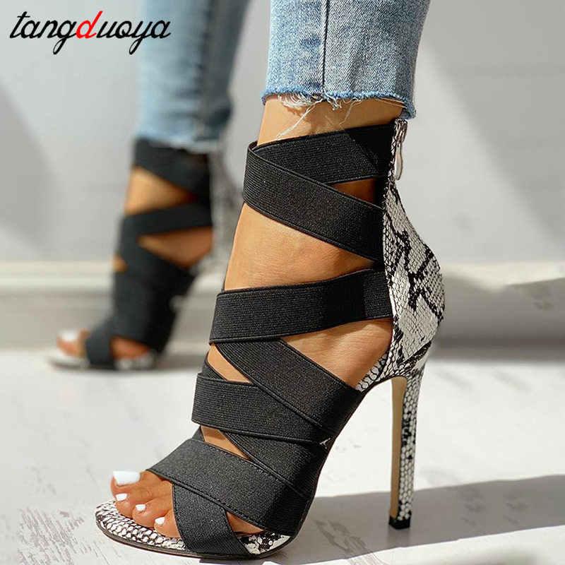 PeepVN Giày Cao Gót Võ Sĩ Giác Đấu Giày Sandal Nữ Mùa Hè Giày Cao Gót Dây Đeo Chéo Giày Nữ Giày Nữ Đế Lớn Size 43