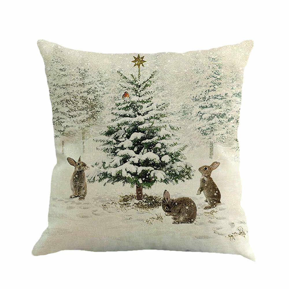 2019 45X45cm هدية الكريسماس الطباعة وسادة من الكتان الصباغة السرير المنزل وسادة غطاء غطاء ل تذكارية #45