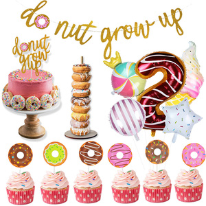 Donut Grow Up Party Decorations Donut Theme birthday decor 2nd birthday number balloons Cake Topper banner birthday supplies